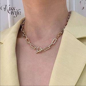 Nice gold color hip hop classic OT buckle necklace